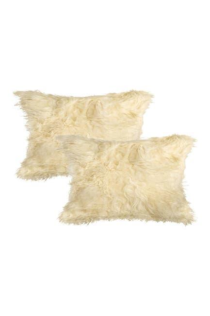 "Image of Natural Mongolian Genuine Sheepskin Pillow - Set of 2 - 12"" x 20"" - Tan"