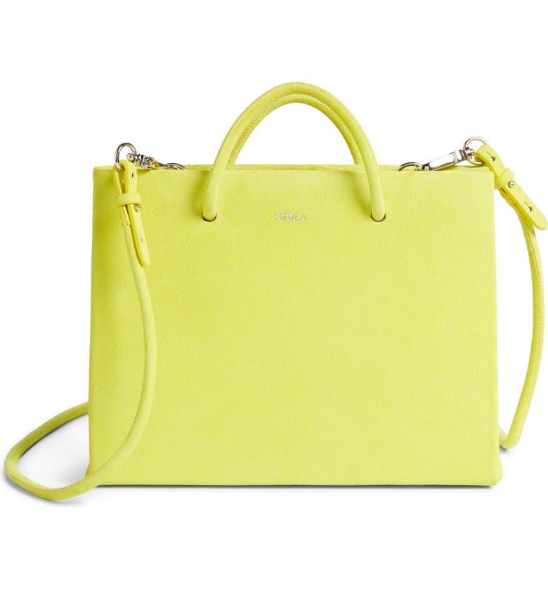 MEDEA Hanna Suede Bag, Main, color, YELLOW