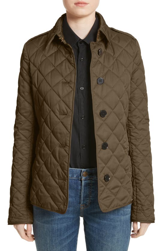 Burberry Frankby Quilted Jacket In Dark Olive
