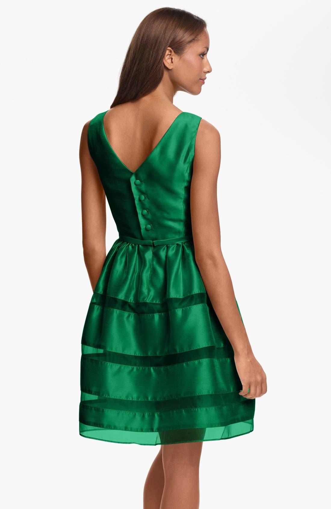 ,                             Tonal Stripe Fit & Flare Dress,                             Alternate thumbnail 8, color,                             310