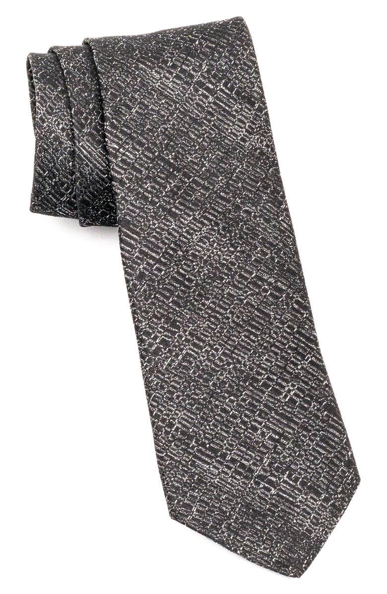 JOHN VARVATOS STAR USA Silk Tie, Main, color, BLACK