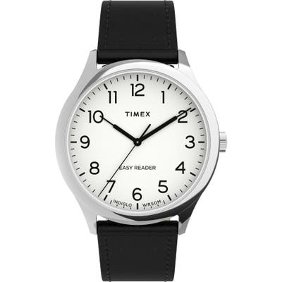Timex Easy Reader Leather Strap Watch, 40mm