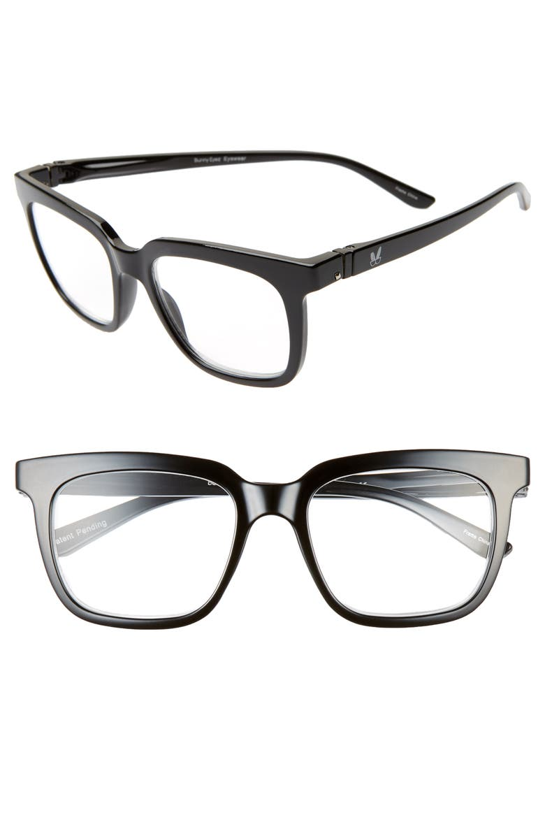 BUNNY EYEZ The Jenny 52mm Reading Glasses, Main, color, SHINY BLACK