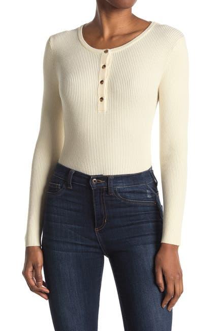 Image of Elodie Long Sleeve Ribbed Slim Fit Henley Sweater