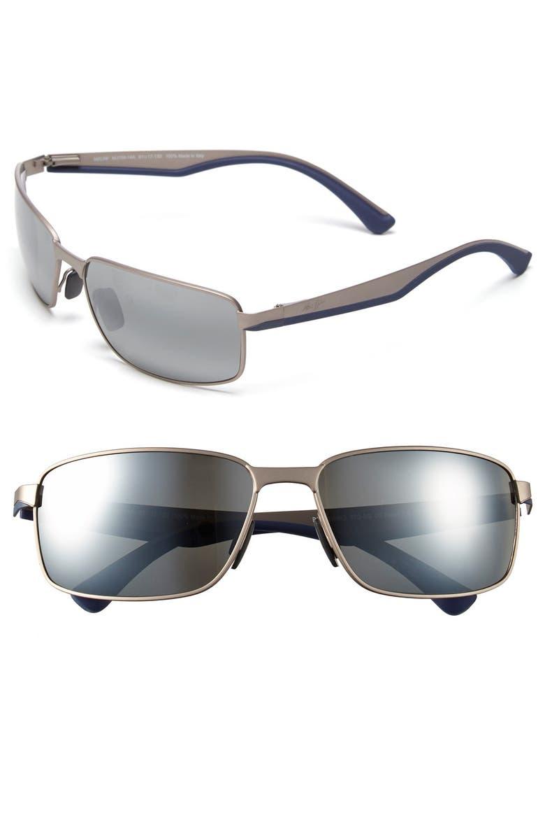 MAUI JIM 'Backswing - PolarizedPlus<sup>®</sup>2' 61mm Polarized Sunglasses, Main, color, SATIN GREY/ NEUTRAL GREY