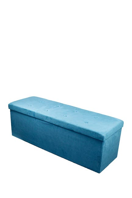 Image of Sorbus Faux Suede Foldable Storage Bench - Teal
