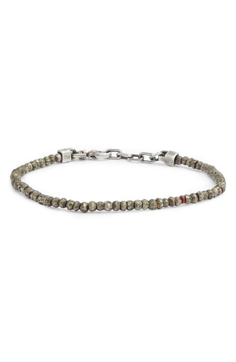 TITLE OF WORK Pyrite & Ruby Bead Bracelet, Main, color, SILVER/ RED