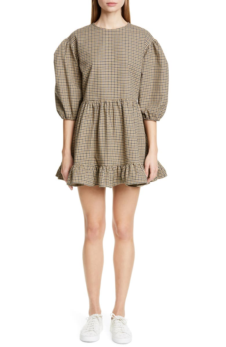 SANDY LIANG Flor Gingham Puff Sleeve Minidress, Main, color, LATTE CHECK