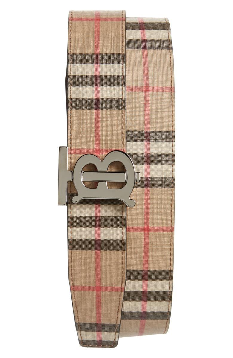 BURBERRY TB Monogram Vintage Check Reversible Belt, Main, color, ARCHIVE BEIGE