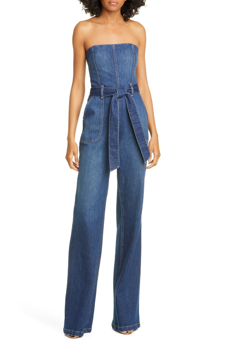 ALICE + OLIVIA JEANS Gorgeous Susy Strapless Denim Jumpsuit, Main, color, LOVE TRAIN