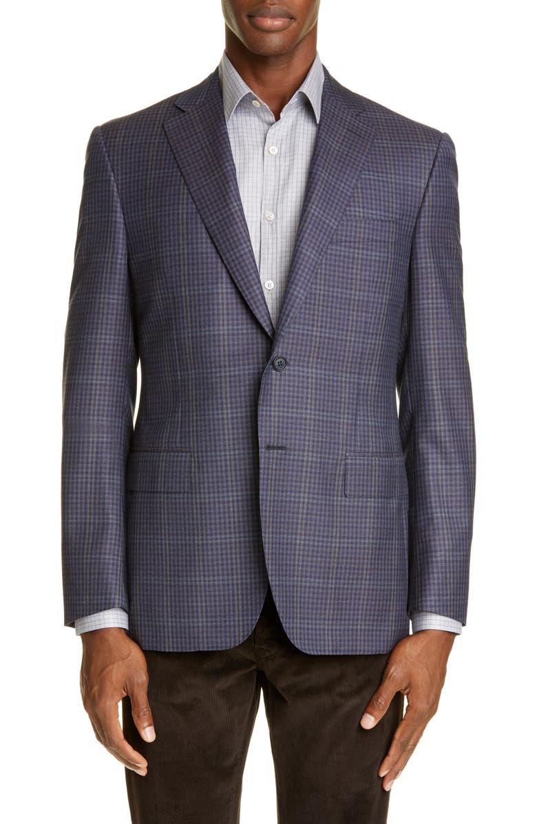CANALI Sienna Soft Classic Fit Microcheck Wool Sport Coat, Main, color, BROWN