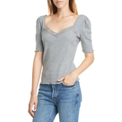 Free People Margaux Sweetheart Neck Cotton Blend Tee, Grey