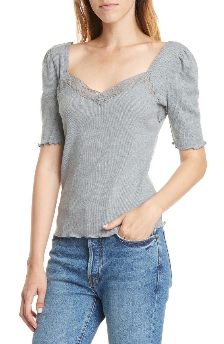 FREE PEOPLE Margaux Sweetheart Neck Cotton Blend Tee, Main, color, 020