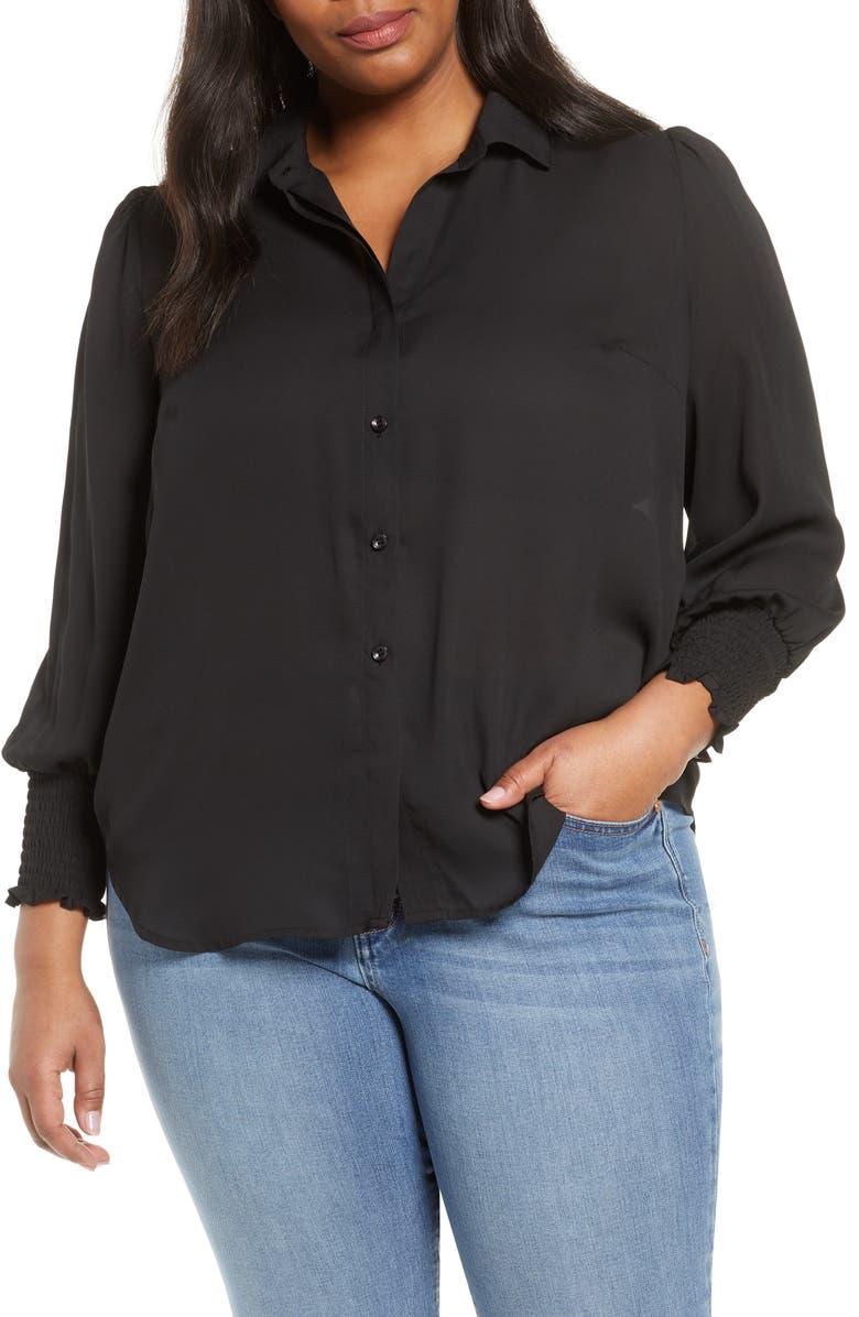 HABITUAL Sage Smock Cuff Long Sleeve Blouse, Main, color, JET BLACK