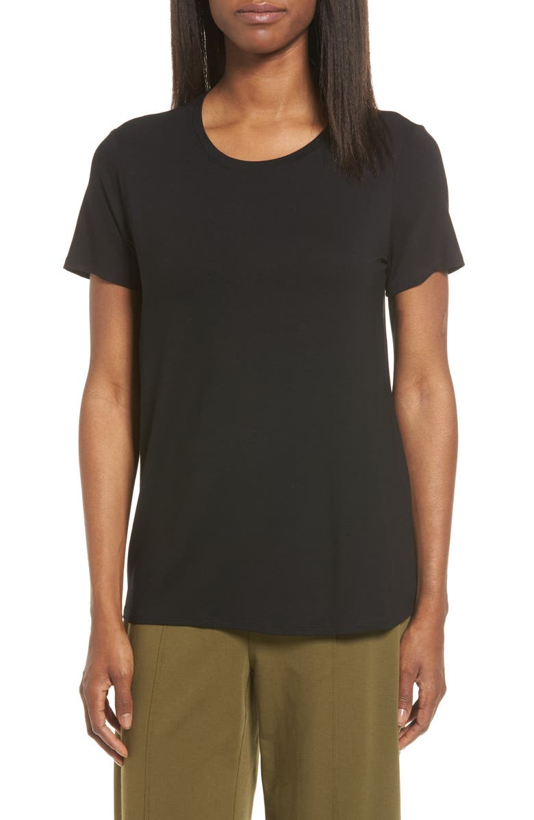 EILEEN FISHER Short Sleeve Jersey Tee, Main, color, BLACK