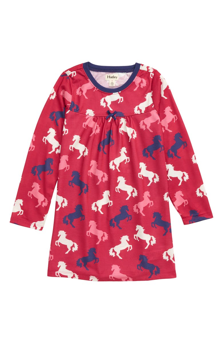 HATLEY Playful Horses Nightgown, Main, color, PINK