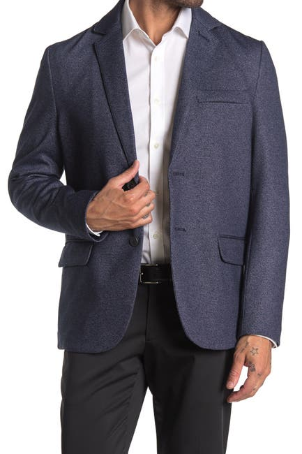Image of CONSTRUCT Navy Twill Two Button Notch Lapel Slim Fit Blazer