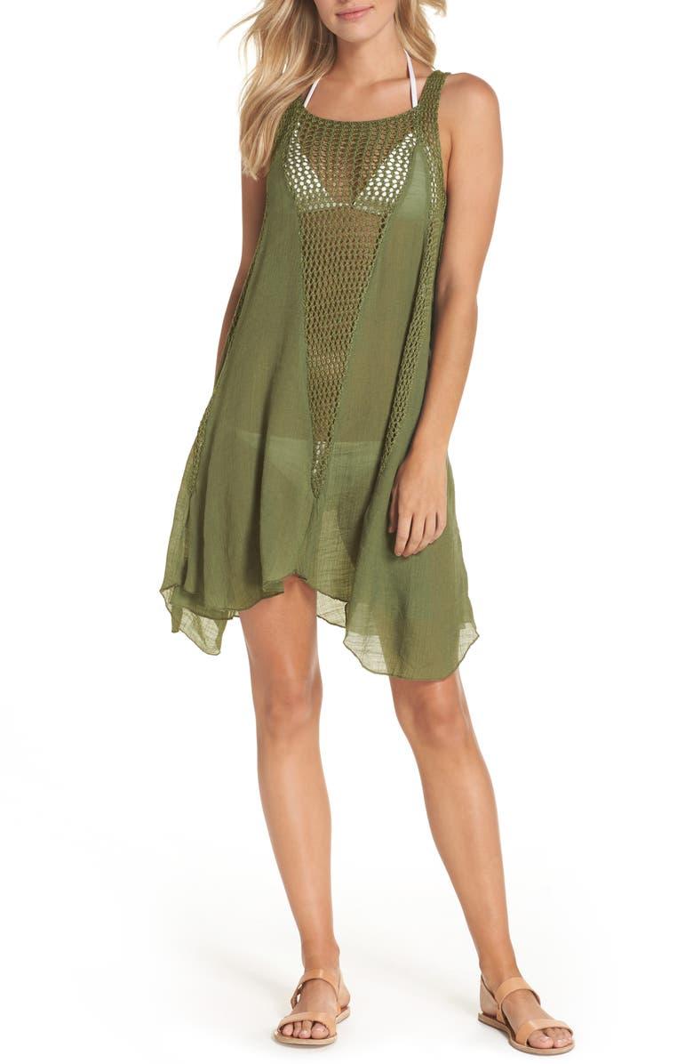 ELAN Crochet Inset Cover-Up Dress, Main, color, 302