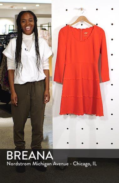 scallop ponte fit & flare dress, sales video thumbnail