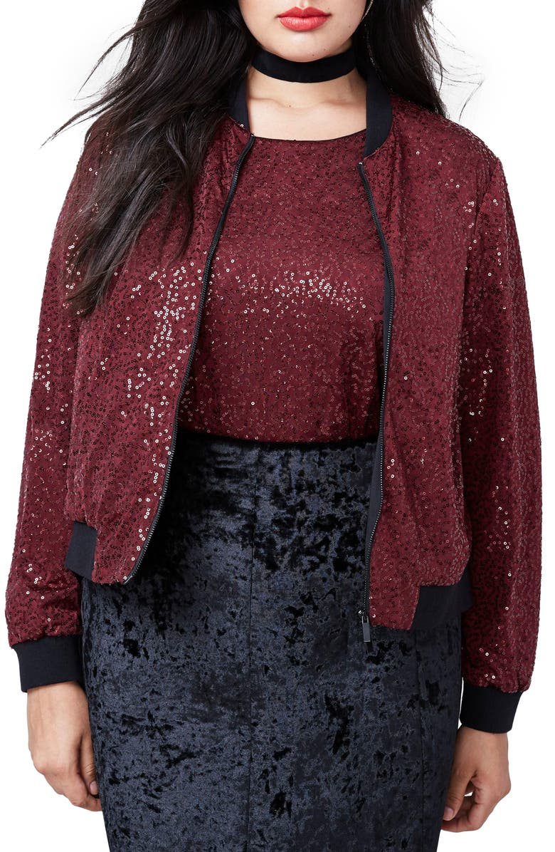 RACHEL RACHEL ROY Sequin Bomber Jacket, Main, color, 603