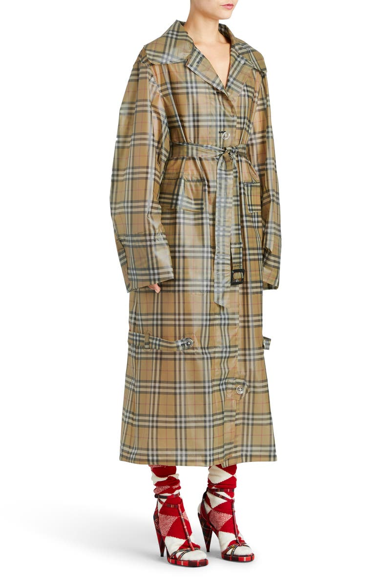 BURBERRY Vintage Check Plastic Trench Coat, Main, color, 704