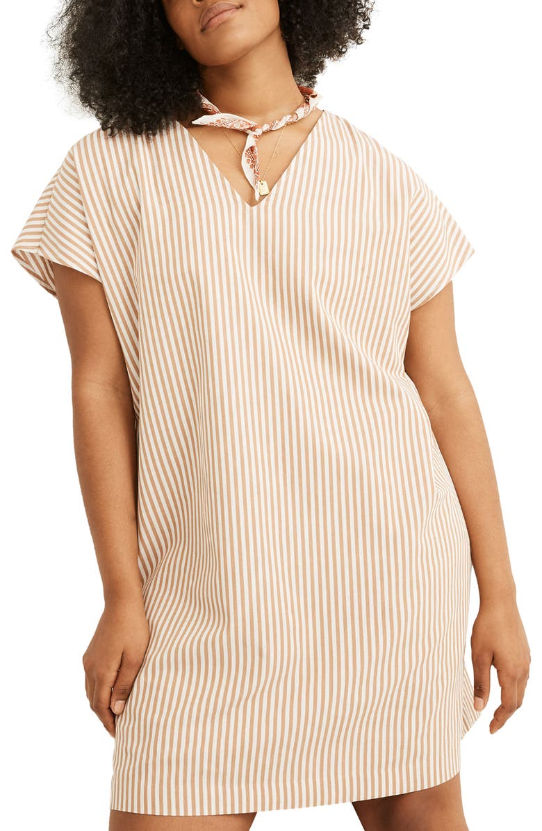 MADEWELL Stripe Button Back Easy Dress, Main, color, YORK STRIPE EARTHEN CLAY