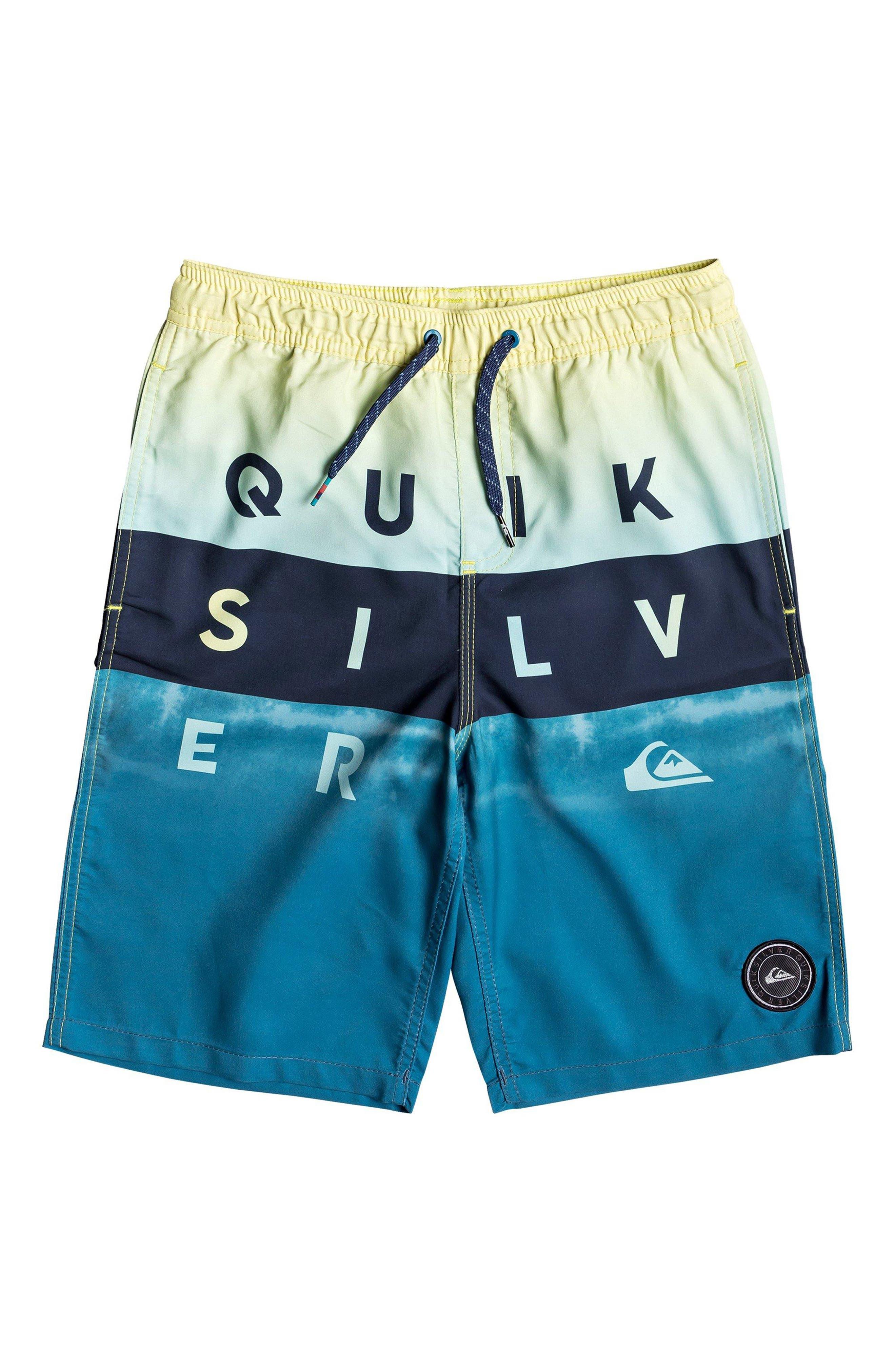 18693dca4f Boy's Quiksilver Word Block Volley Swim Trunks, Size L (14) - Blue