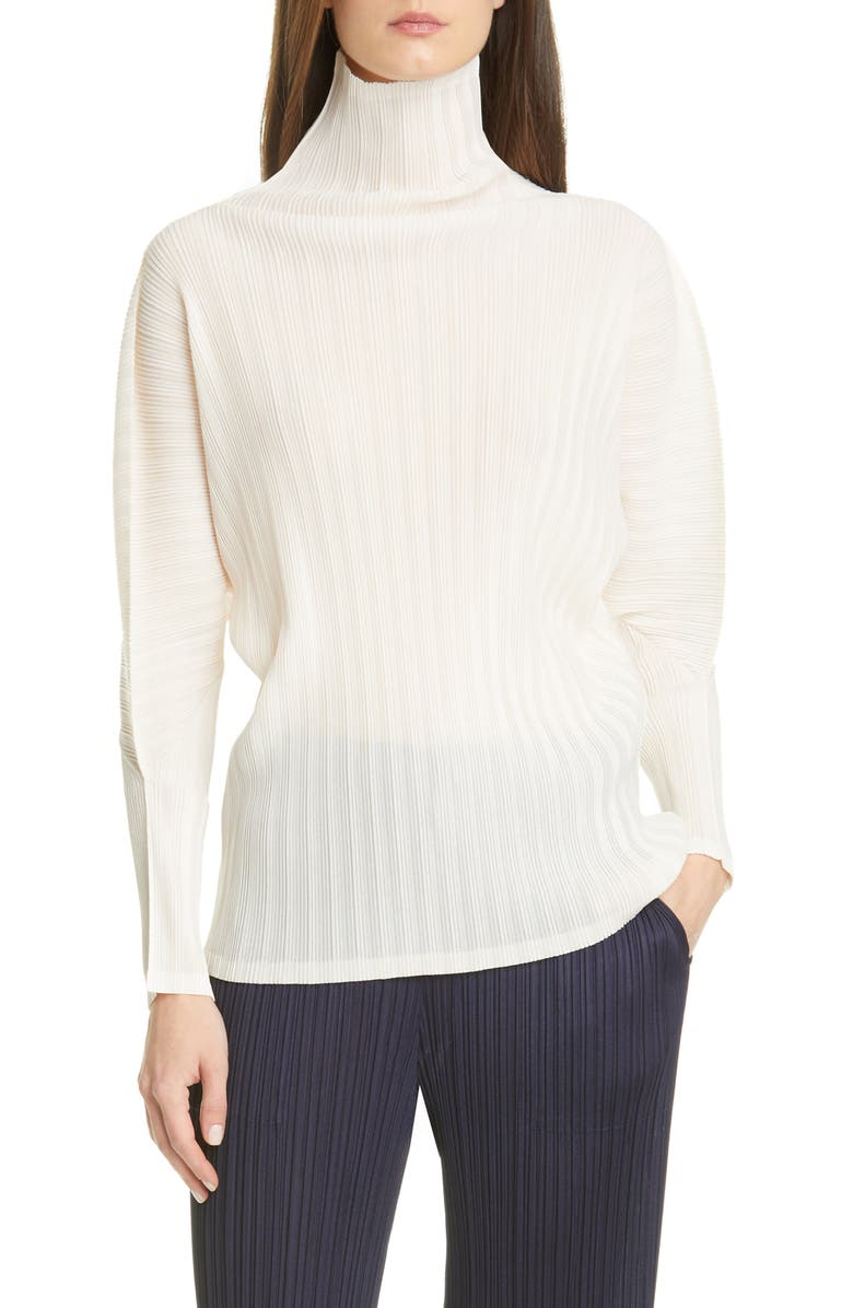 PLEATS PLEASE ISSEY MIYAKE Pleated Turtleneck Top, Main, color, 02 OFF WHITE