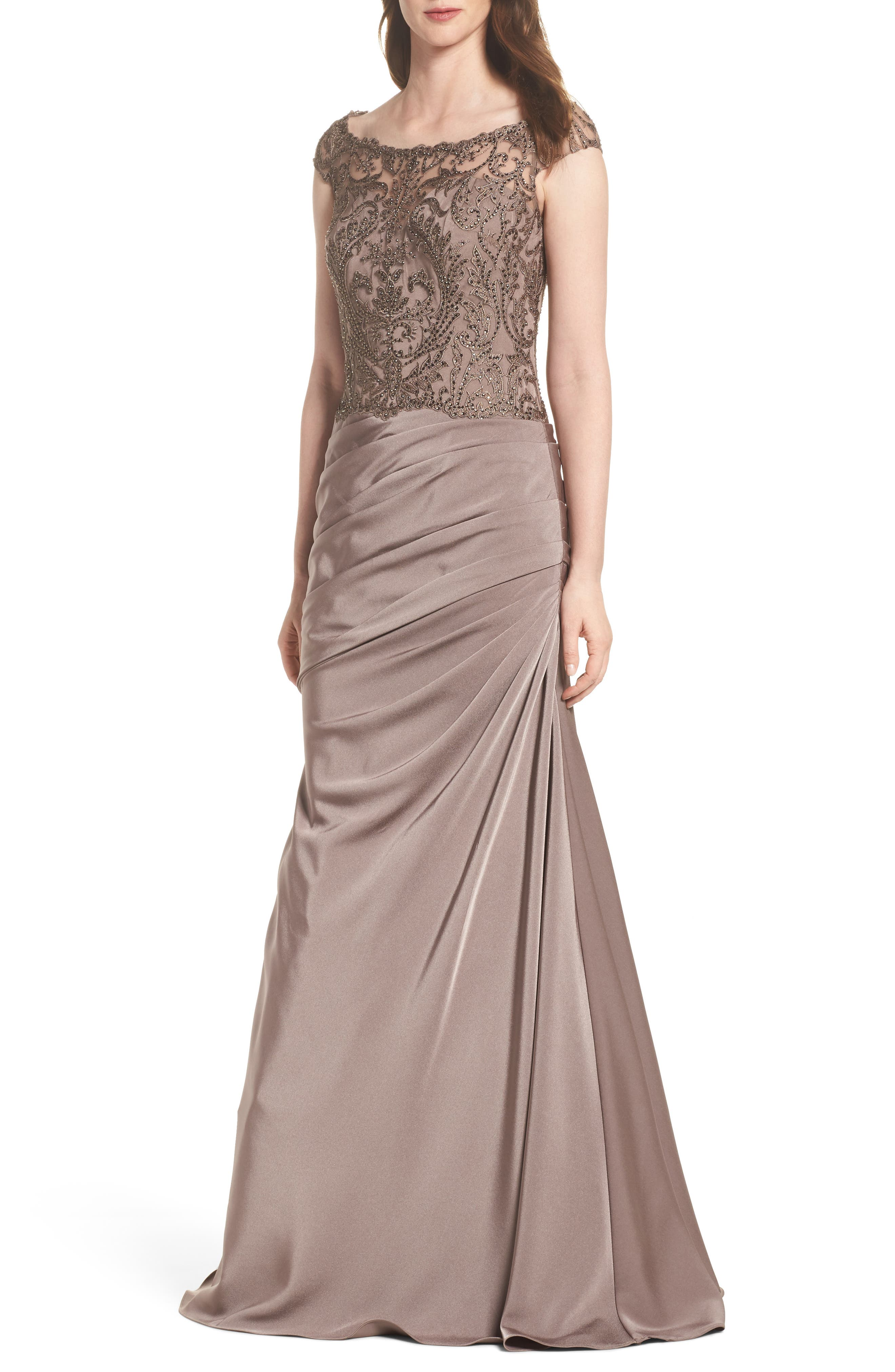 La Femme Beaded Lace Ruched Gown, Brown