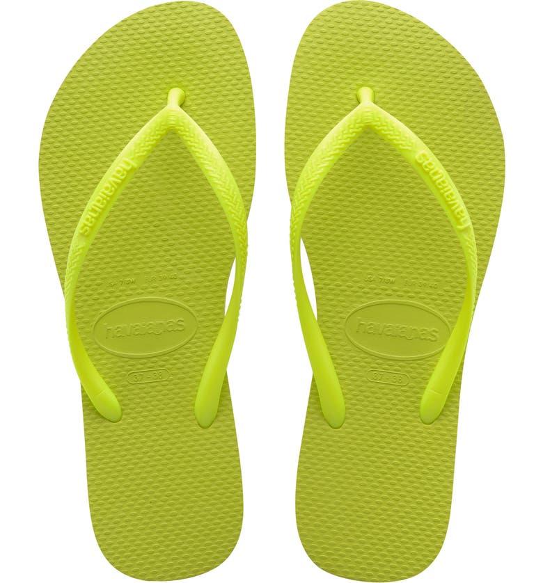 HAVAIANAS Slim Flip Flop, Main, color, GALACTIC GREEN