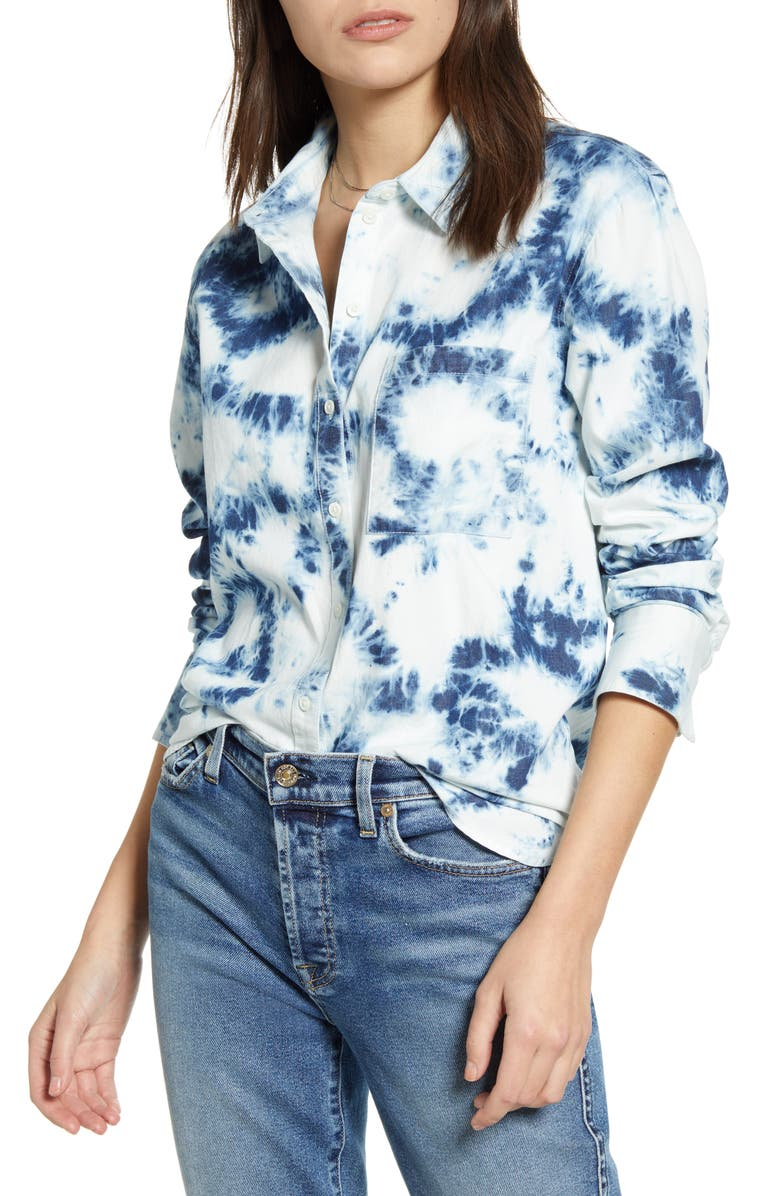 TREASURE & BOND Tie Dye Button-Up Shirt, Main, color, NAVY BLAZER TIE DYE