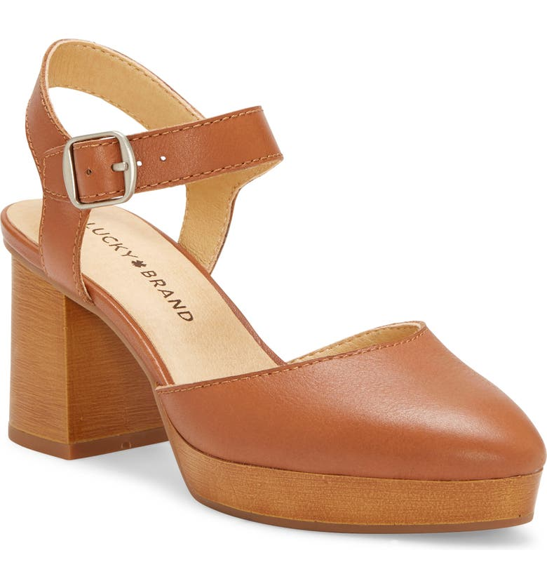 LUCKY BRAND Rheyme Platform Sandal, Main, color, LATTE LEATHER