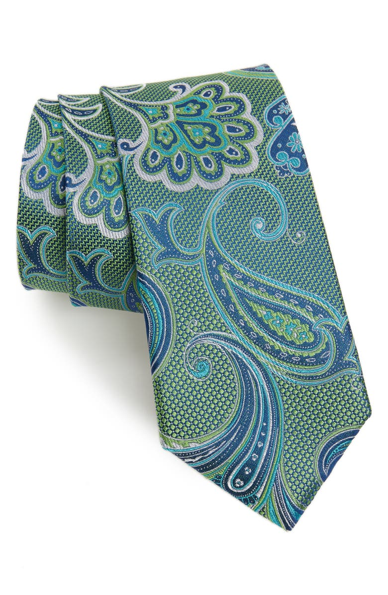 NORDSTROM MEN'S SHOP Bryce Paisley Silk Tie, Main, color, LIME