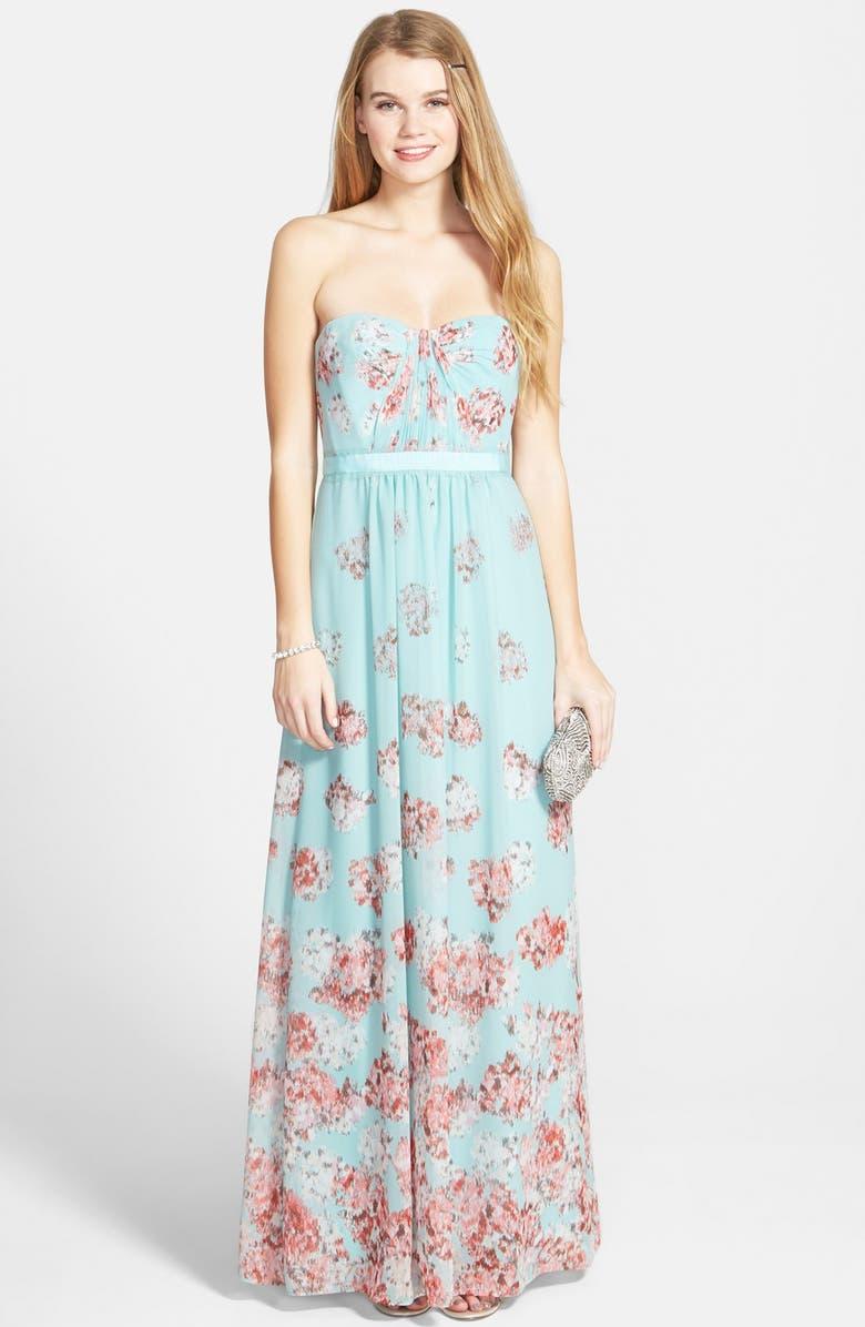 BCBGMAXAZRIA 'Amber' Print Georgette Gown, Main, color, 440