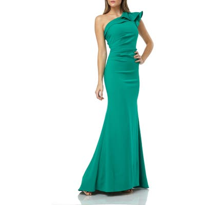 Carmen Marc Valvo Infusion One-Shoulder Gown, Green