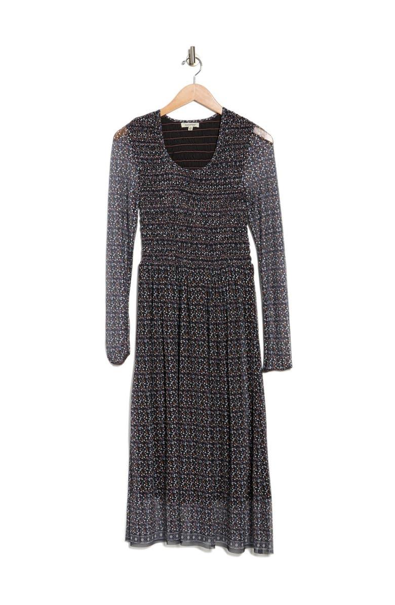 MAX STUDIO Printed Overlay Dress, Main, color, BLACK/BLUSH