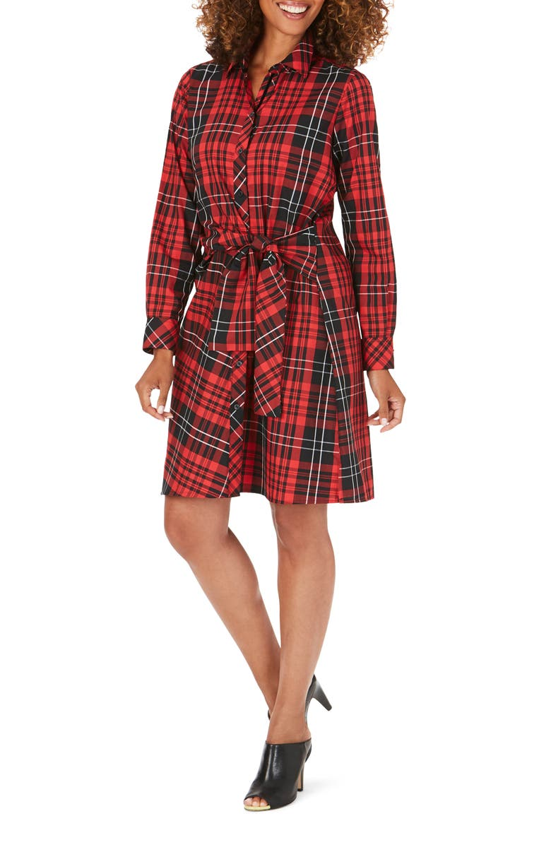 FOXCROFT Parisian Matheson Tartan Long Sleeve Shirtdress, Main, color, BLACK MULTI