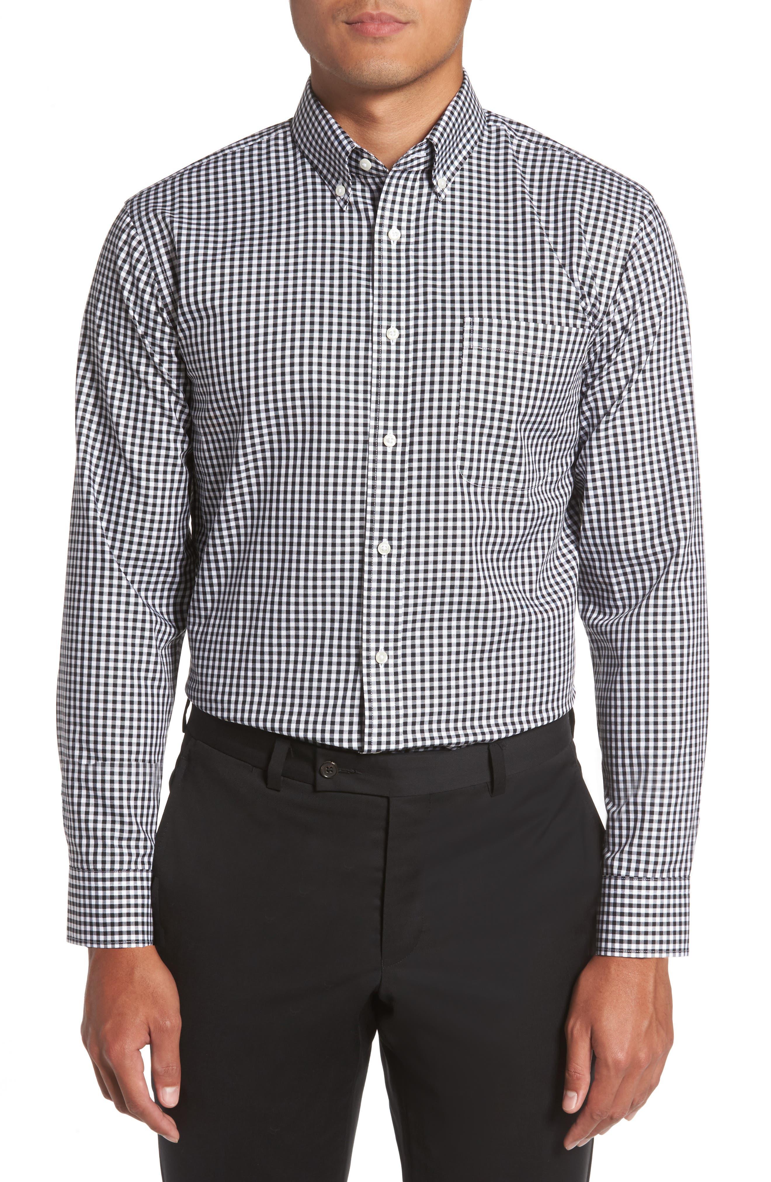Trim Fit Non-Iron Gingham Dress Shirt, Main, color, BLACK ROCK