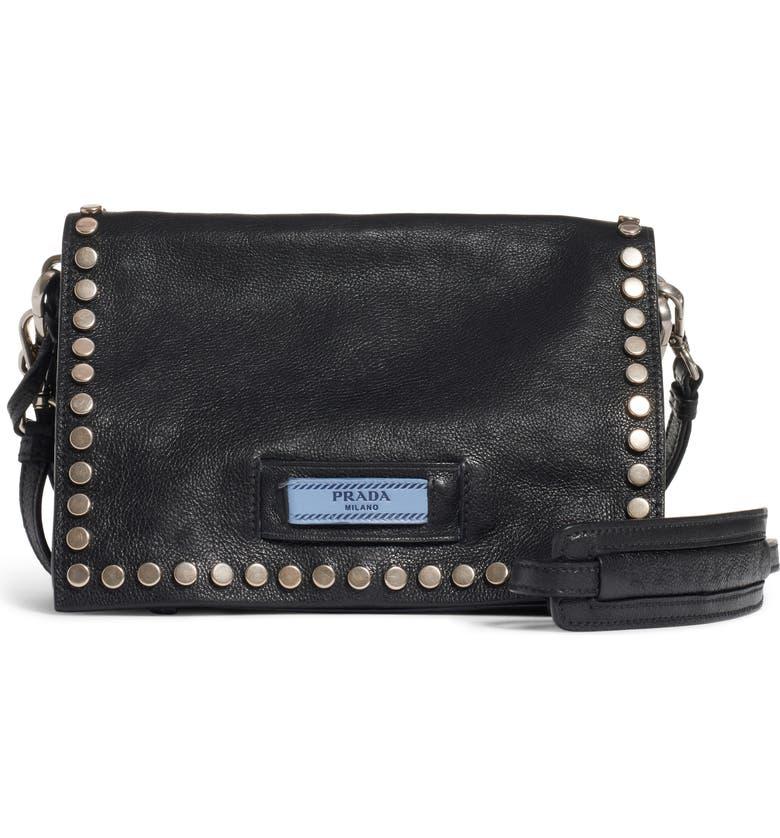 PRADA Small Etiquette Patch Bag, Main, color, NERO/ ASTRALE