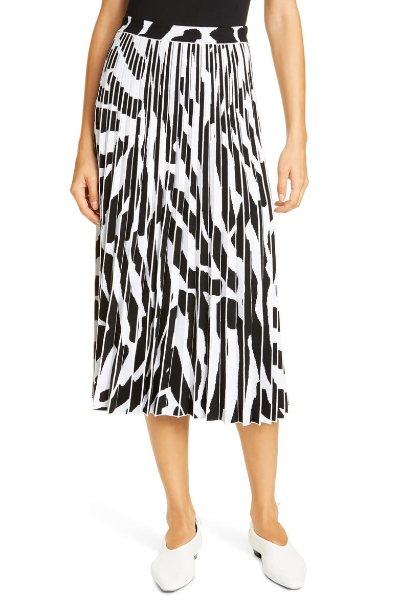 PROENZA SCHOULER Animal Pattern Pleated Jacquard Midi Skirt, Main, color, SNOW/ BLACK