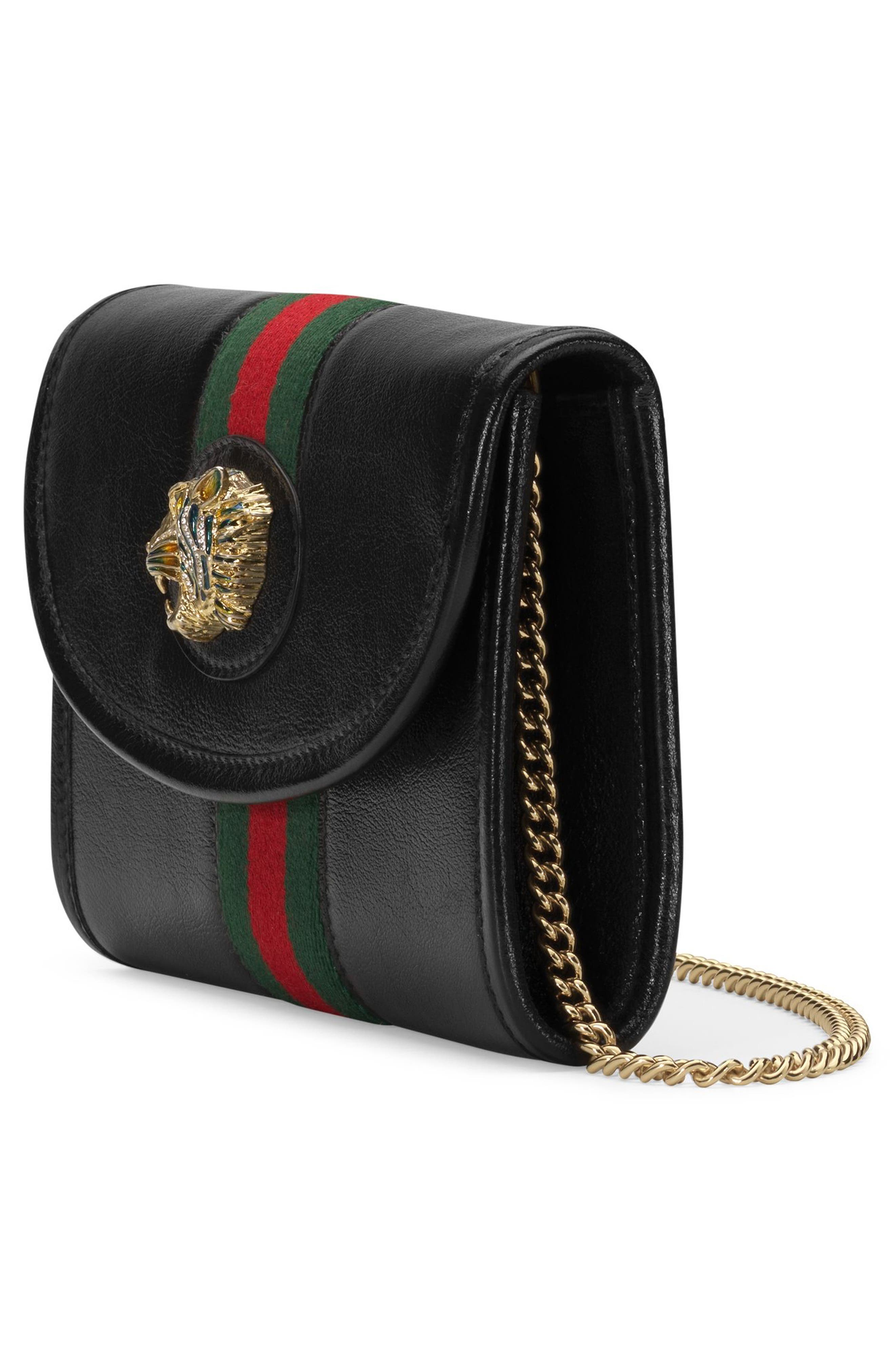 ,                             Mini Rajah Leather Crossbody Bag,                             Alternate thumbnail 4, color,                             NERO/ VERT RED MULTI