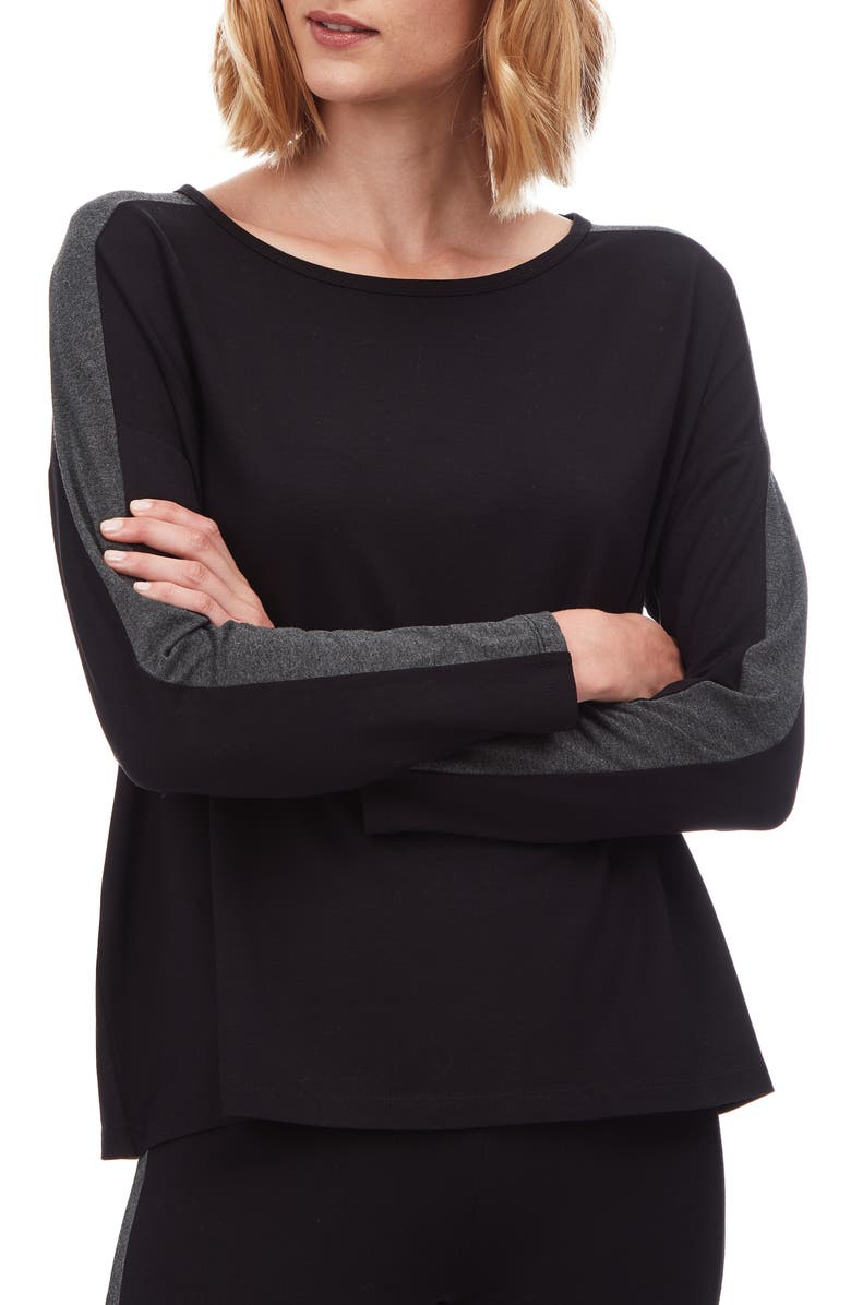 THE WHITE COMPANY Side Stripe Jersey Tee, Main, color, 001