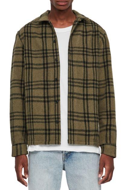 Allsaints Zenith Regular Fit Plaid Button-up Fleece Overshirt In Khaki Green