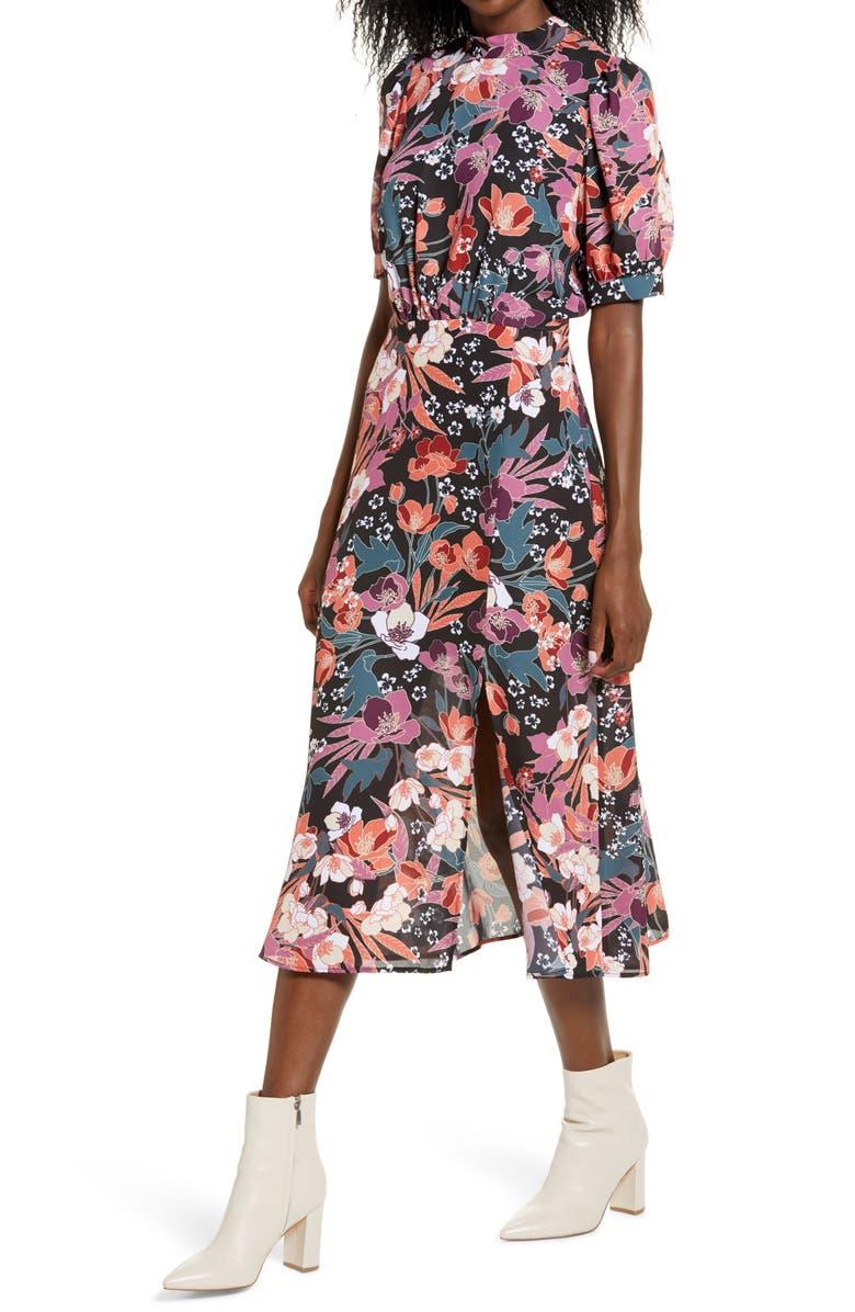 JULIA JORDAN Floral Puff Sleeve Midi Dress, Main, color, BLACK MULTI