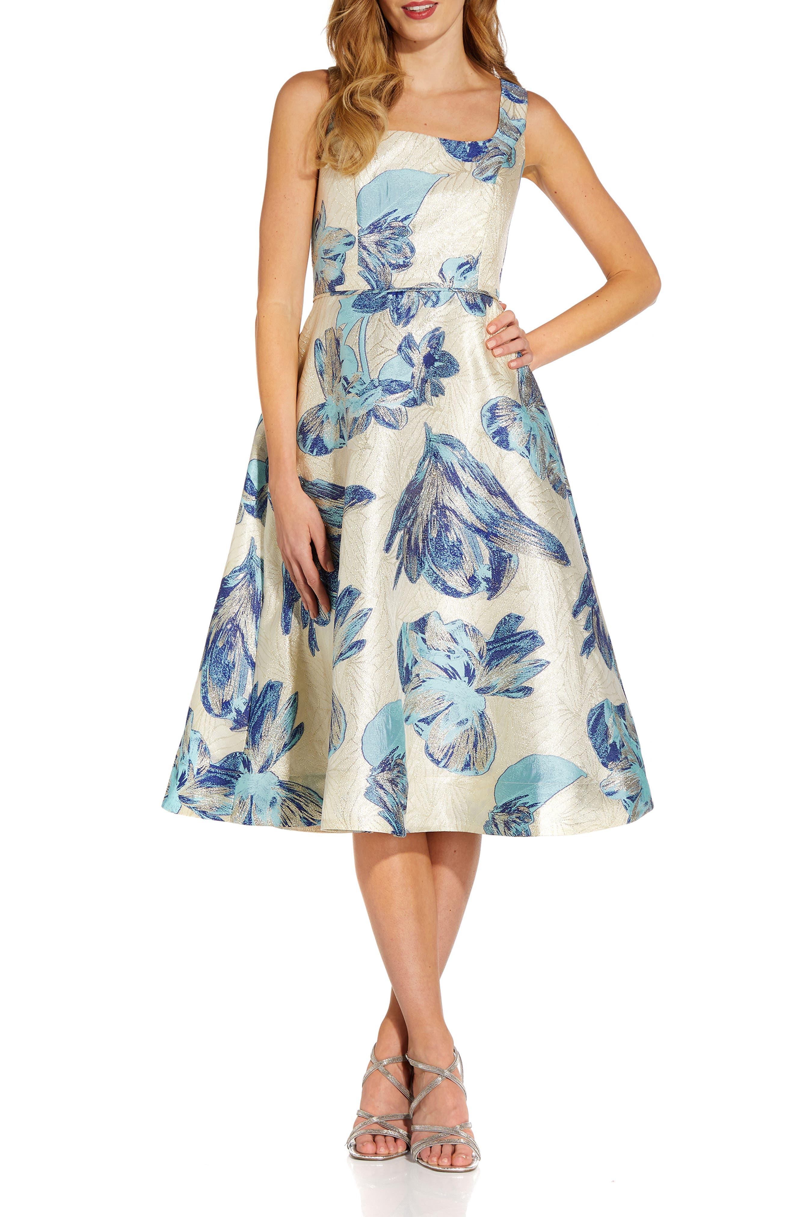 Metallic Floral Jacquard Sleeveless Fit & Flare Cocktail Midi Dress