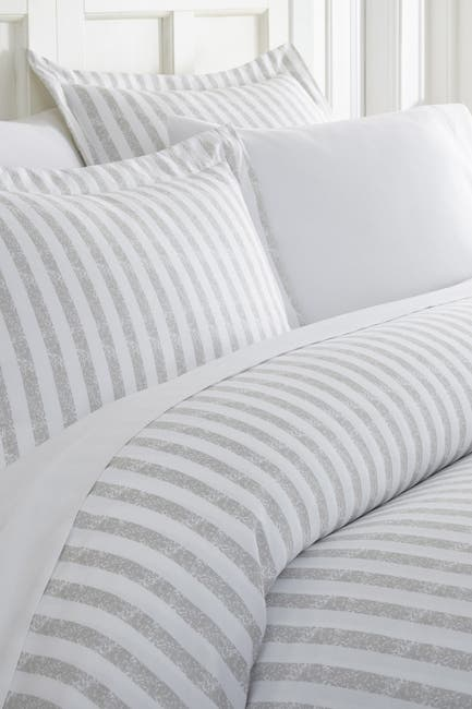 Image of IENJOY HOME Home Spun Premium Ultra Soft 3-Piece Puffed Rugged Stripes Duvet Cover Full/Queen Set - Light Gray