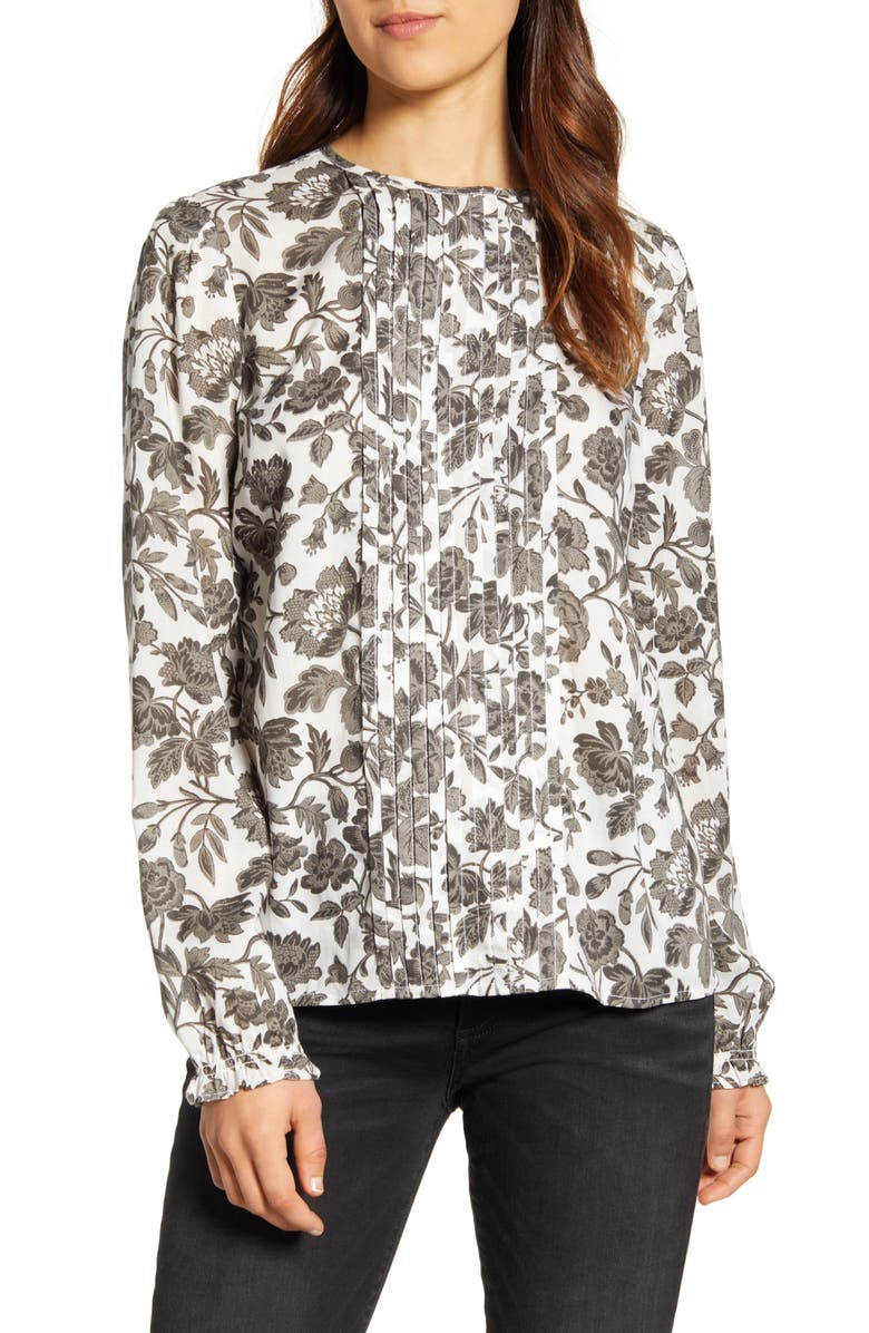LUCKY BRAND Lea Grey Floral Pintuck Blouse, Main, color, 030