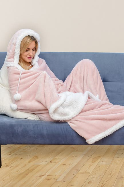 Image of Duck River Textile Solid Hooded Reversible Throw Blanket with Side Pockets - Blush