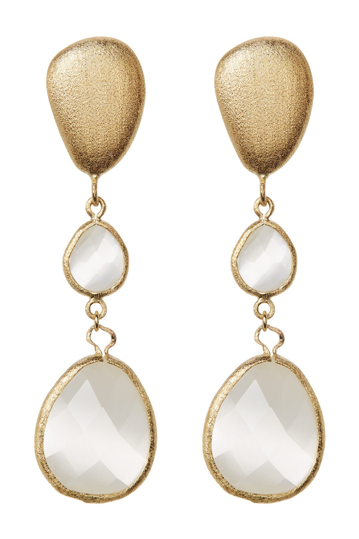 Image of Rivka Friedman Faceted White Cat's Eye Teardrop Satin FInish Drop Earrings