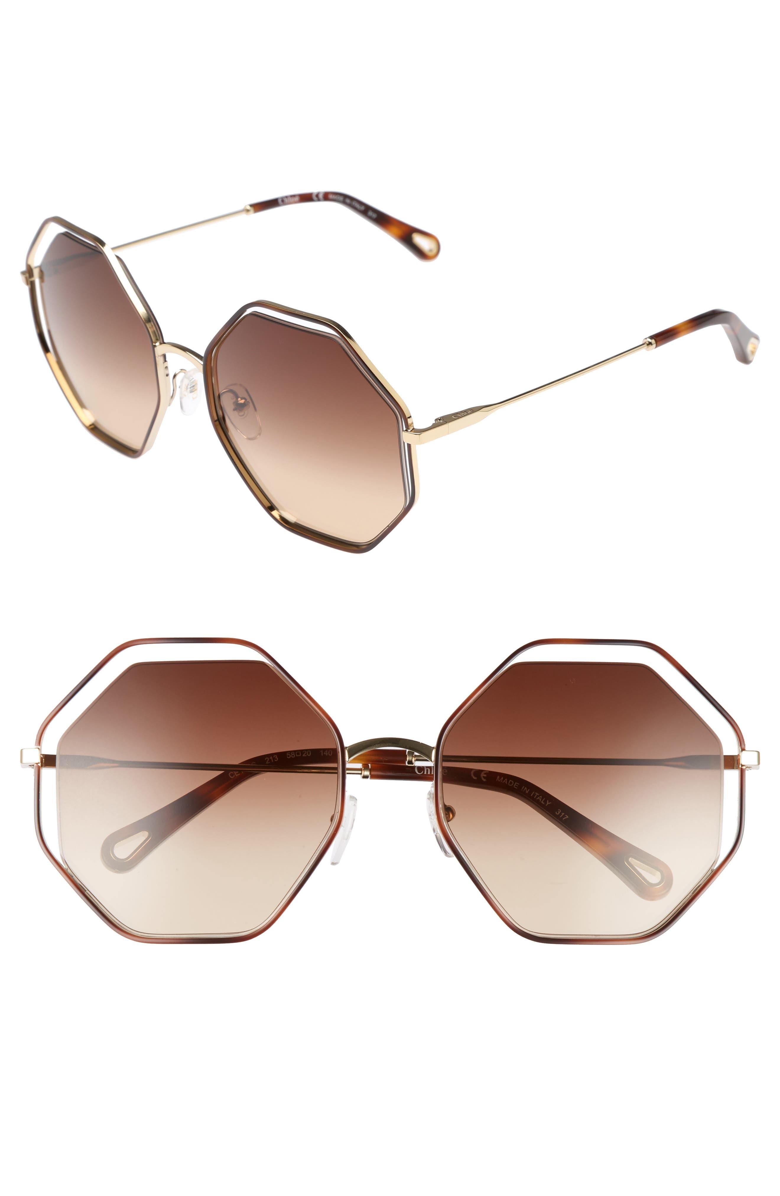 Chloe 5m Octagonal Halo Lens Sunglasses - Havana/ Brown